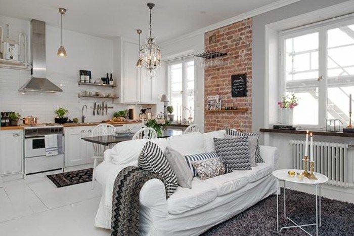 comment-amenager-un-petit-studio-mur-en-briques-rouges-tapis-gris-canape-blanc